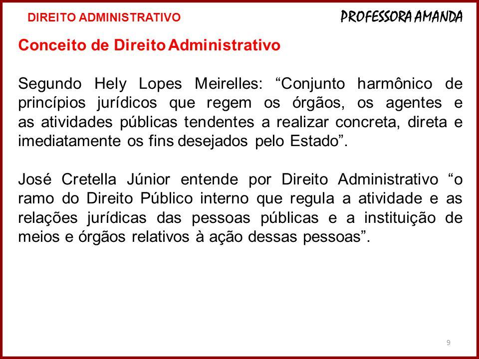 """9 Conceito de Direito Administrativo Segundo Hely Lopes Meirelles: """"Conjunto harmônico de princípios jurídicos que regem os órgãos, os agentes e as at"""