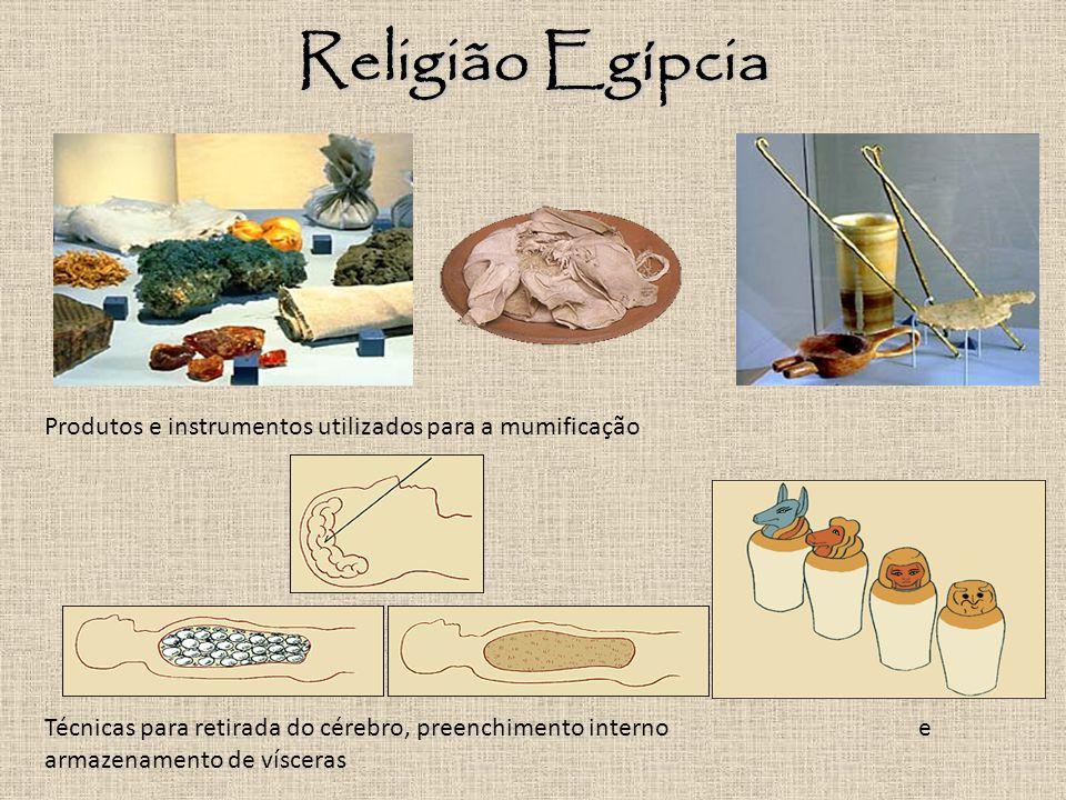 Religião Egípcia Produtos e instrumentos utilizados para a mumificação Técnicas para retirada do cérebro, preenchimento interno e armazenamento de vísceras