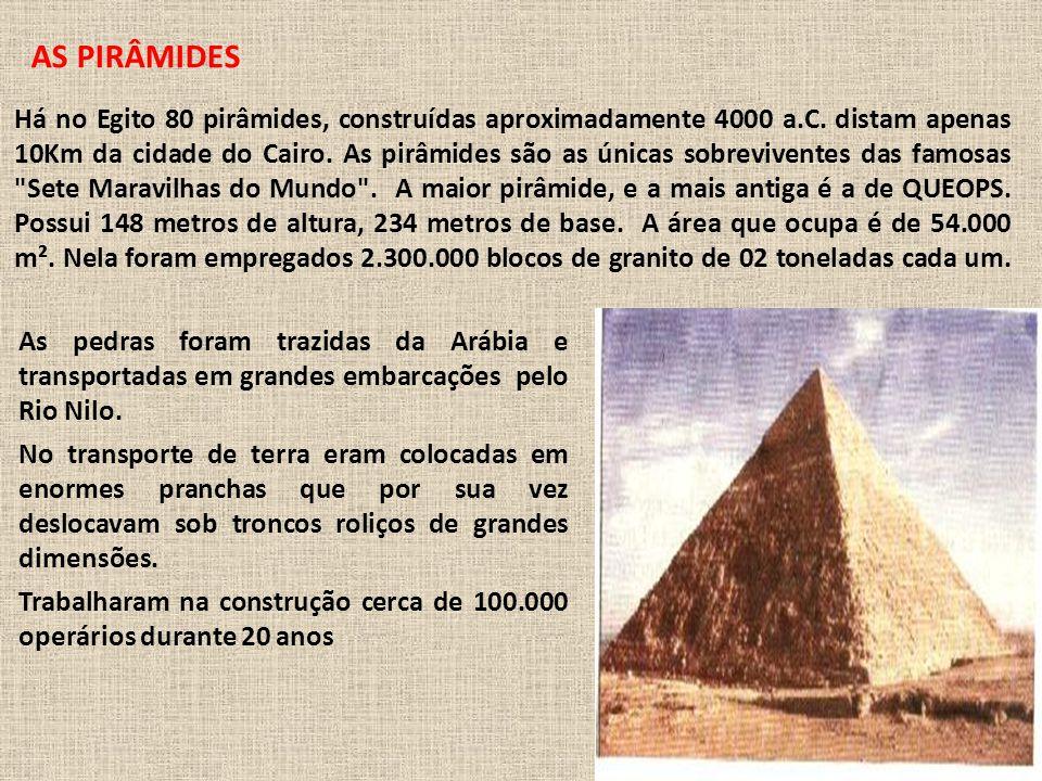 Há no Egito 80 pirâmides, construídas aproximadamente 4000 a.C.