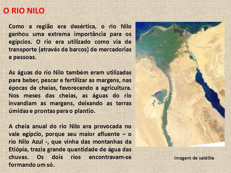 O RIO NILO Como a região era desértica, o rio Nilo ganhou uma extrema importância para os egípcios.