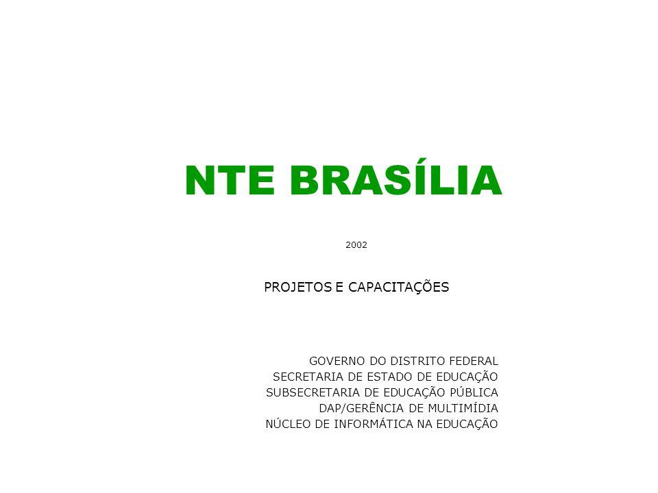 NTE BRASÍLIA GOVERNO DO DISTRITO FEDERAL SECRETARIA DE ESTADO DE EDUCAÇÃO SUBSECRETARIA DE EDUCAÇÃO PÚBLICA DAP/GERÊNCIA DE MULTIMÍDIA NÚCLEO DE INFOR