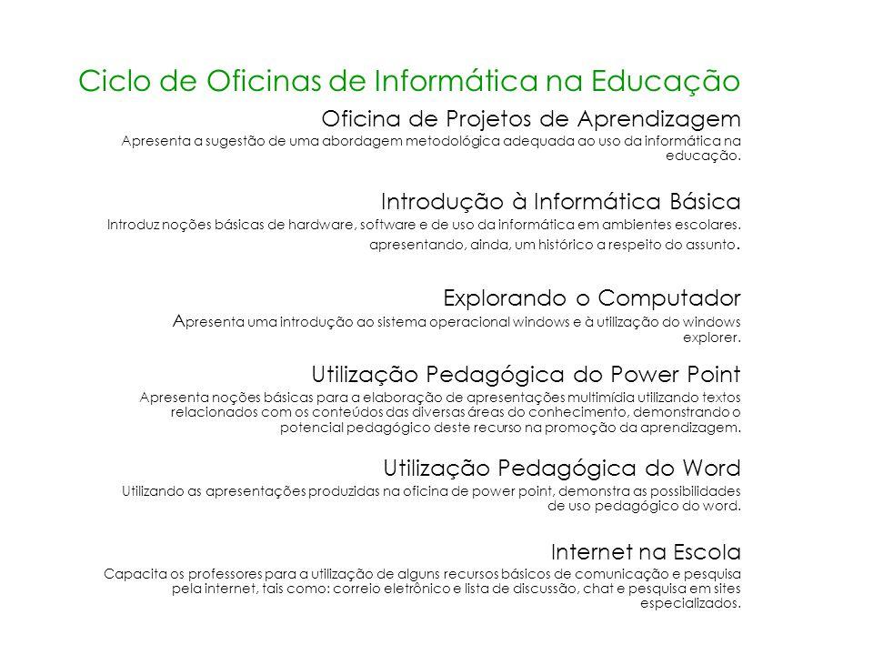 Ciclo de Oficinas de Informática na Educação Oficina de Projetos de Aprendizagem Apresenta a sugestão de uma abordagem metodológica adequada ao uso da