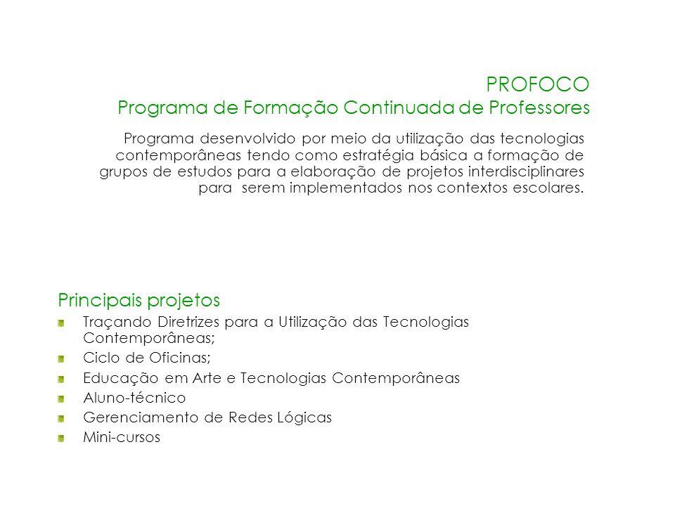 PROFOCO Programa de Formação Continuada de Professores Programa desenvolvido por meio da utilização das tecnologias contemporâneas tendo como estratég