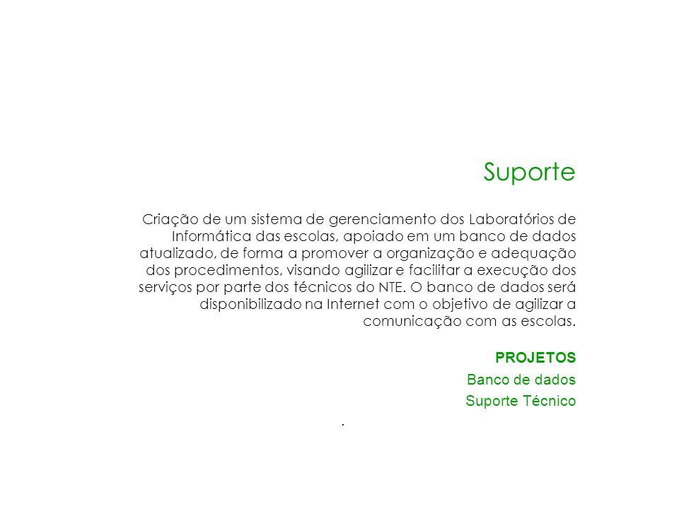 Suporte Criação de um sistema de gerenciamento dos Laboratórios de Informática das escolas, apoiado em um banco de dados atualizado, de forma a promov