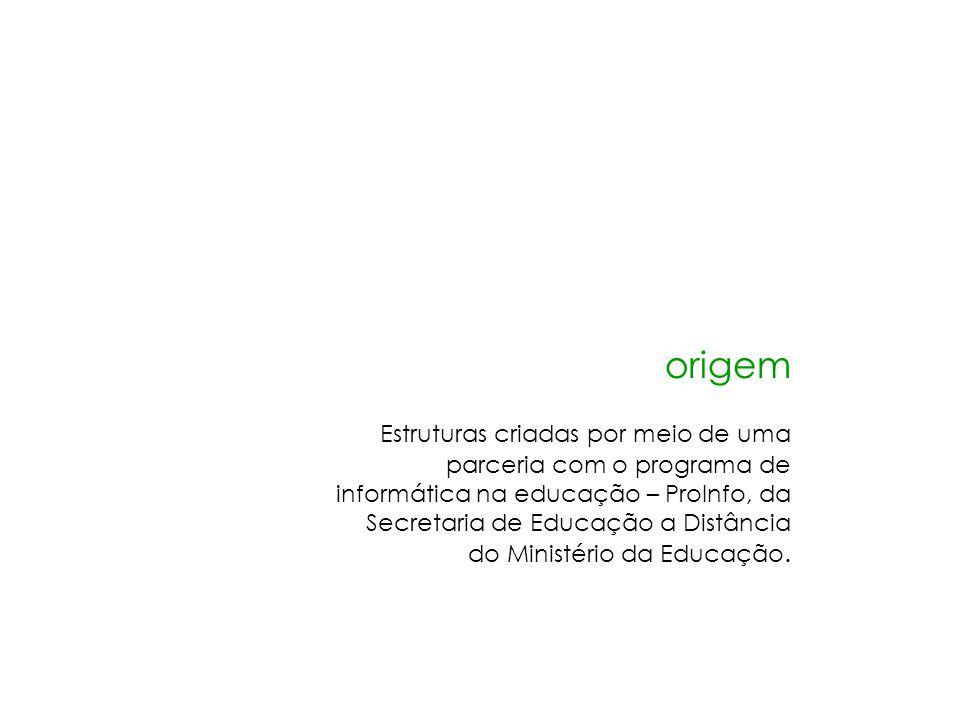 origem Estruturas criadas por meio de uma parceria com o programa de informática na educação – ProInfo, da Secretaria de Educação a Distância do Minis