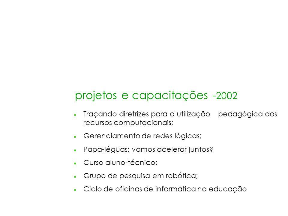 projetos e capacitações - 2002 Traçando diretrizes para a utilização pedagógica dos recursos computacionais; Gerenciamento de redes lógicas; Papa-légu