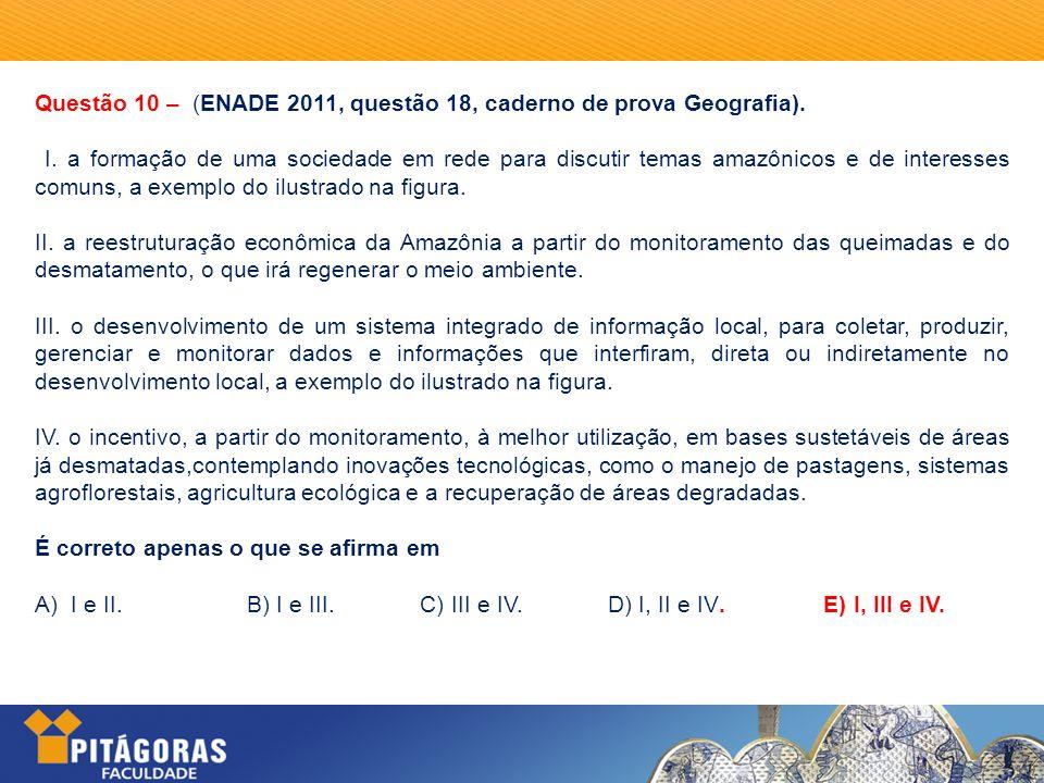 Questão 10 – (ENADE 2011, questão 18, caderno de prova Geografia).
