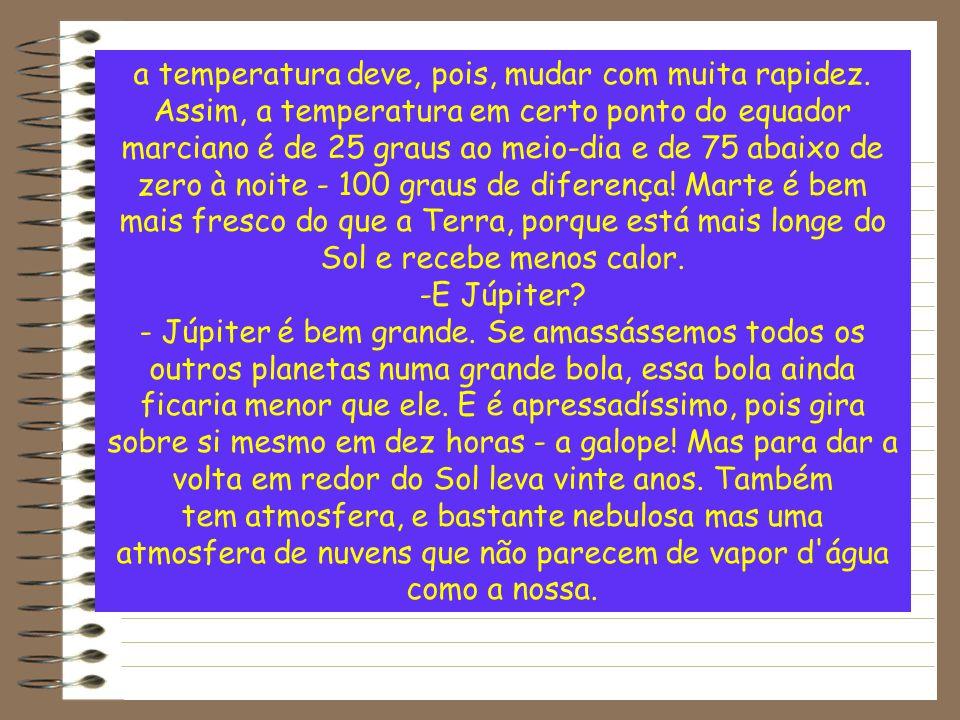 a temperatura deve, pois, mudar com muita rapidez.