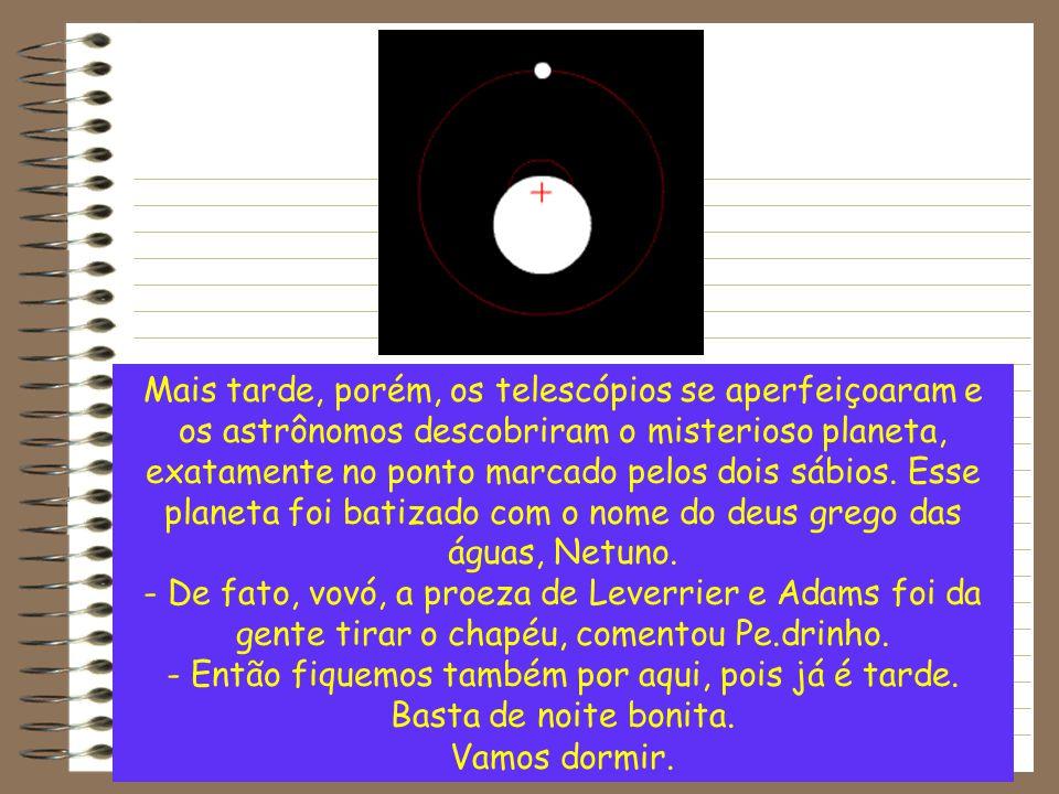 Mais tarde, porém, os telescópios se aperfeiçoaram e os astrônomos descobriram o misterioso planeta, exatamente no ponto marcado pelos dois sábios. Es