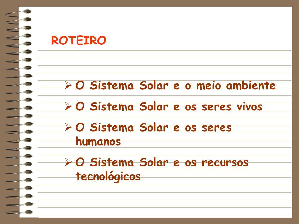 ROTEIRO  O Sistema Solar e o meio ambiente  O Sistema Solar e os seres vivos  O Sistema Solar e os seres humanos  O Sistema Solar e os recursos tecnológicos