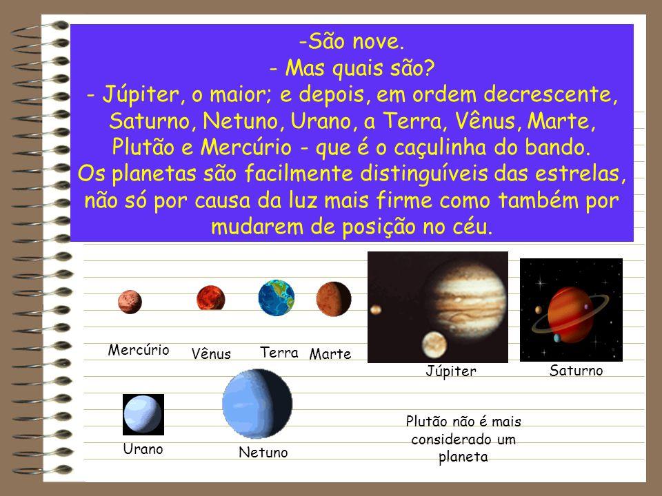 -São nove. - Mas quais são? - Júpiter, o maior; e depois, em ordem decrescente, Saturno, Netuno, Urano, a Terra, Vênus, Marte, Plutão e Mercúrio - que