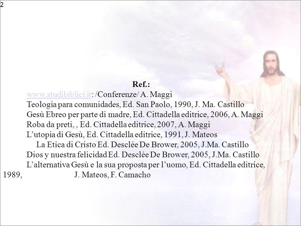 2 Ref.: www.studibiblici.itwww.studibiblici.it: /Conferenze/ A. Maggi Teologia para comunidades, Ed. San Paolo, 1990, J. Ma. Castillo Gesù Ebreo per p