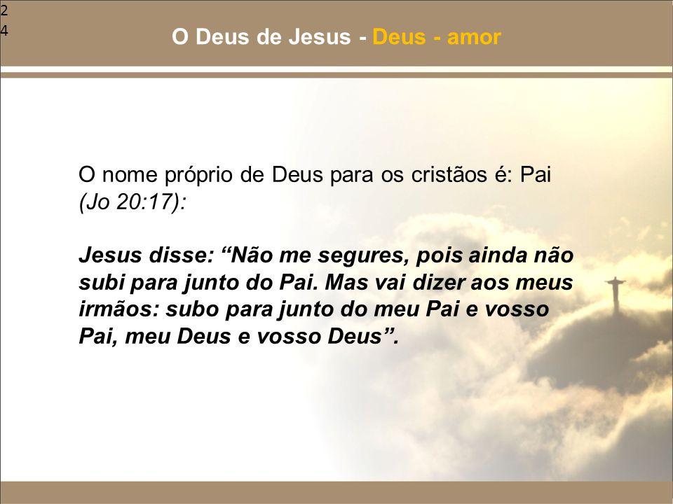 """24 O nome próprio de Deus para os cristãos é: Pai (Jo 20:17): Jesus disse: """"Não me segures, pois ainda não subi para junto do Pai. Mas vai dizer aos m"""