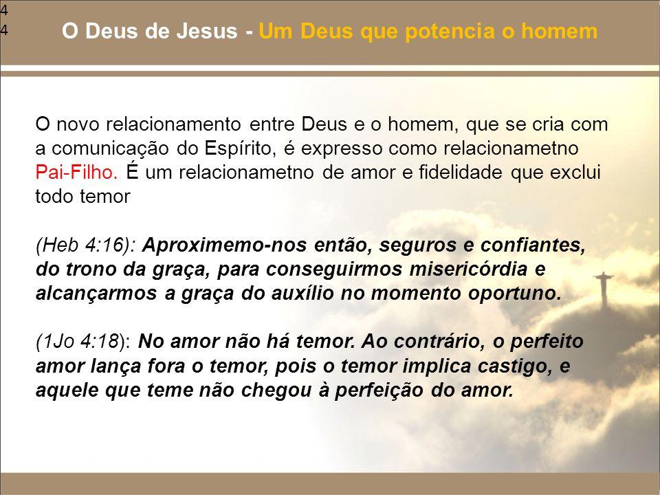 44 O novo relacionamento entre Deus e o homem, que se cria com a comunicação do Espírito, é expresso como relacionametno Pai-Filho. É um relacionametn