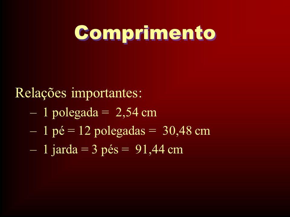 Comprimento Relações importantes: – 1 polegada = 2,54 cm – 1 pé = 12 polegadas = 30,48 cm – 1 jarda = 3 pés = 91,44 cm