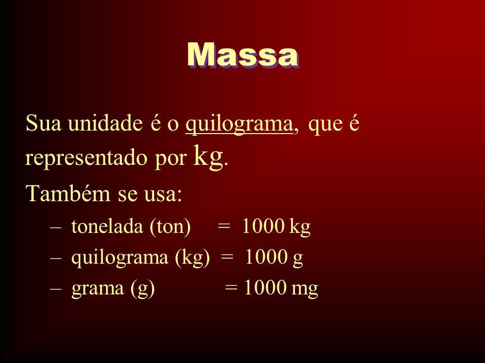 Massa Sua unidade é o quilograma, que é representado por kg. Também se usa: – tonelada (ton) = 1000 kg – quilograma (kg) = 1000 g – grama (g) = 1000 m