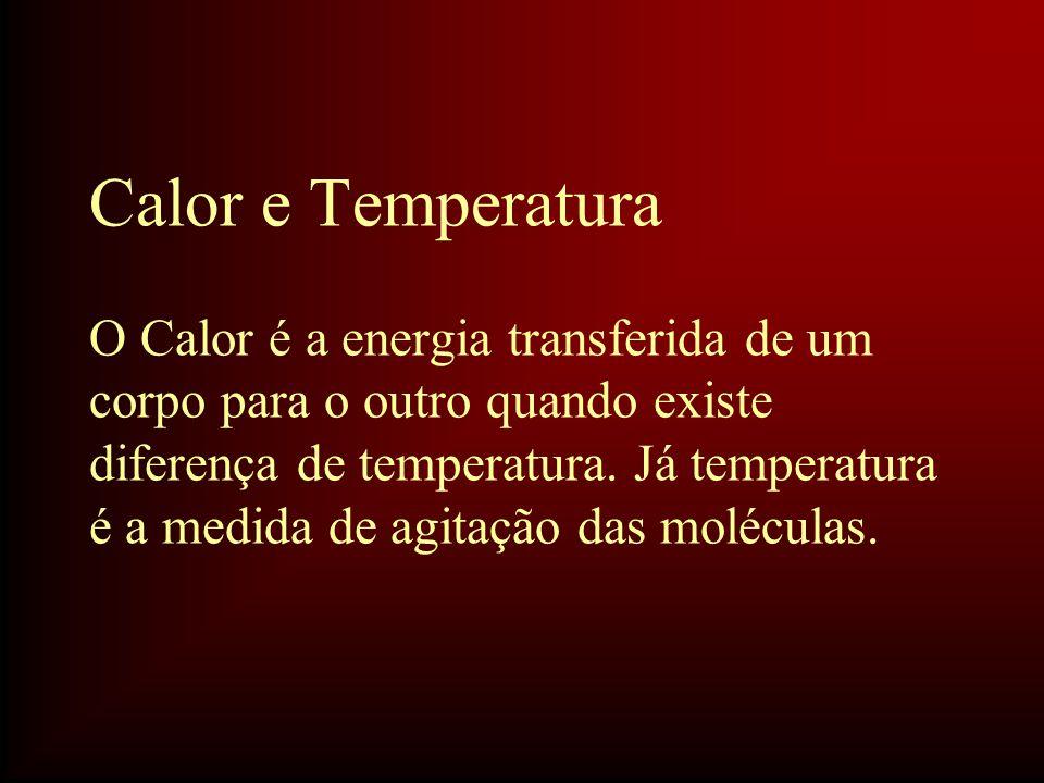Calor e Temperatura O Calor é a energia transferida de um corpo para o outro quando existe diferença de temperatura. Já temperatura é a medida de agit