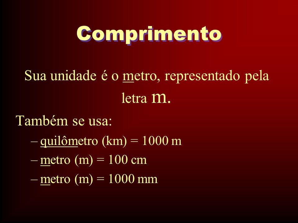 Comprimento Sua unidade é o metro, representado pela letra m. Também se usa: –quilômetro (km) = 1000 m –metro (m) = 100 cm –metro (m) = 1000 mm