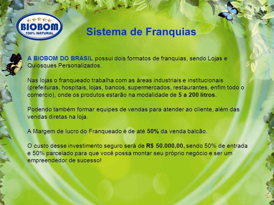 Sistema de Franquias A BIOBOM DO BRASIL possui dois formatos de franquias, sendo Lojas e Quiosques Personalizados.