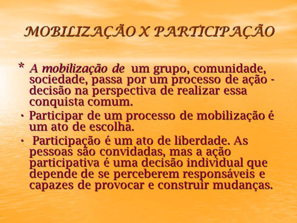 MOBILIZAÇÃO X PARTICIPAÇÃO * A mobilização de um grupo, comunidade, sociedade, passa por um processo de ação - decisão na perspectiva de realizar essa conquista comum.
