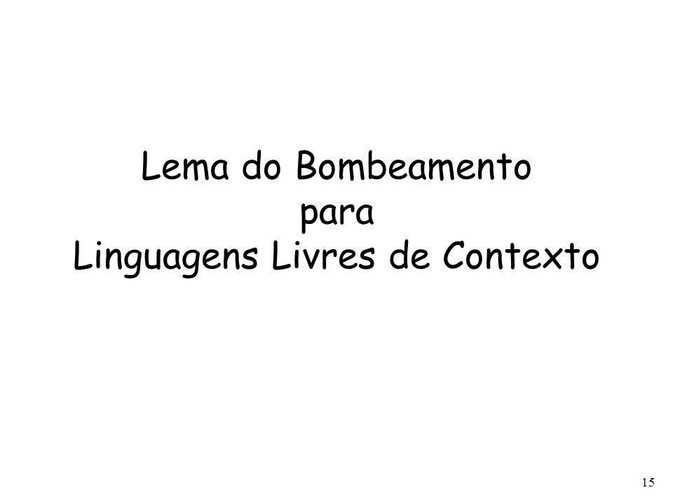 15 Lema do Bombeamento para Linguagens Livres de Contexto