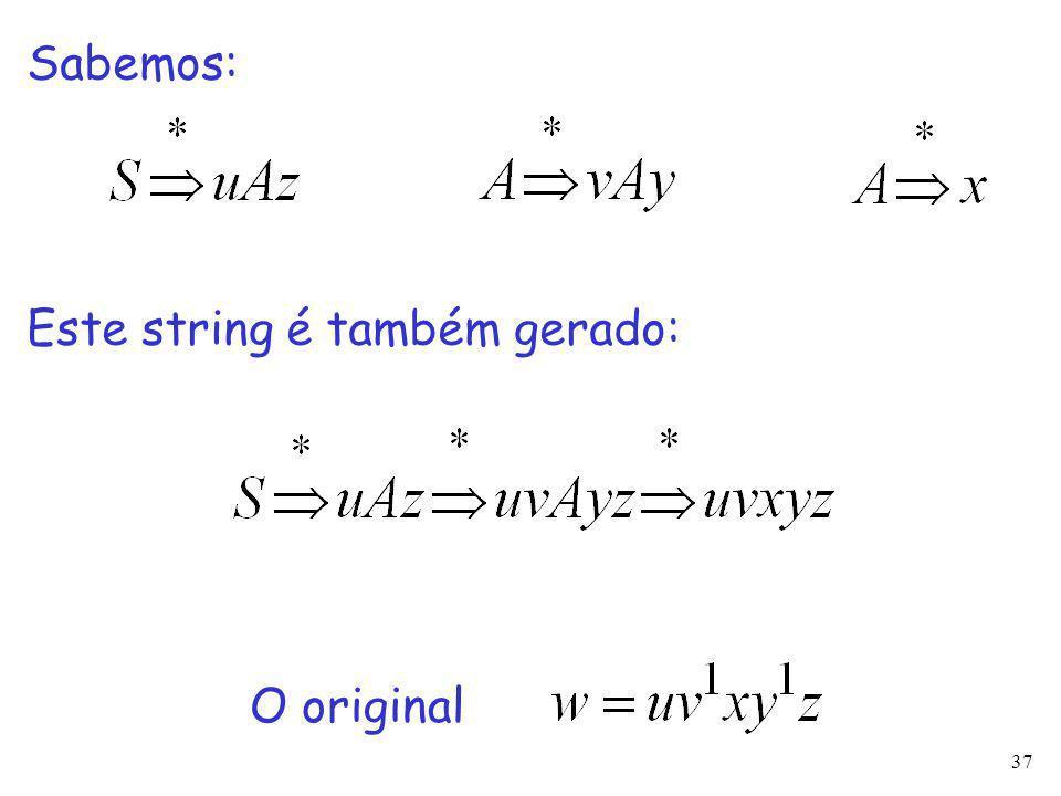 37 Este string é também gerado: O original Sabemos: