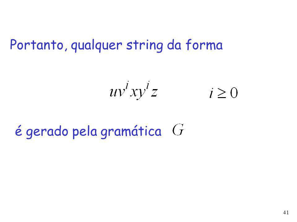 41 Portanto, qualquer string da forma é gerado pela gramática