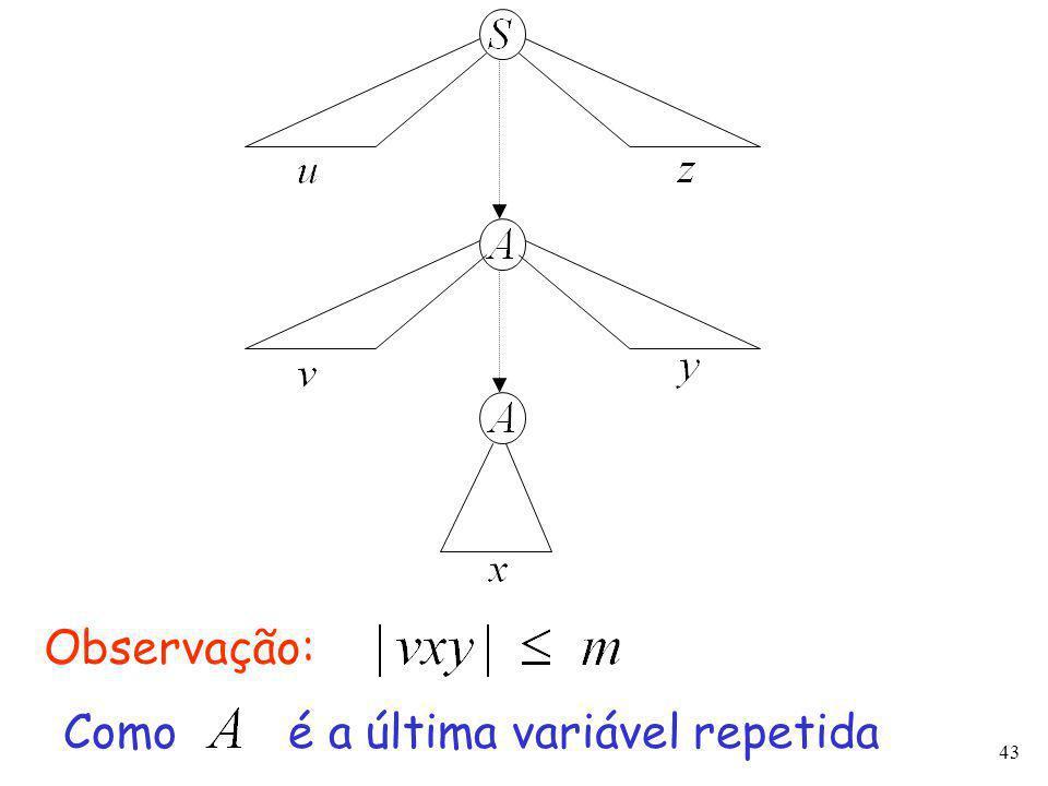 43 Observação: Como é a última variável repetida
