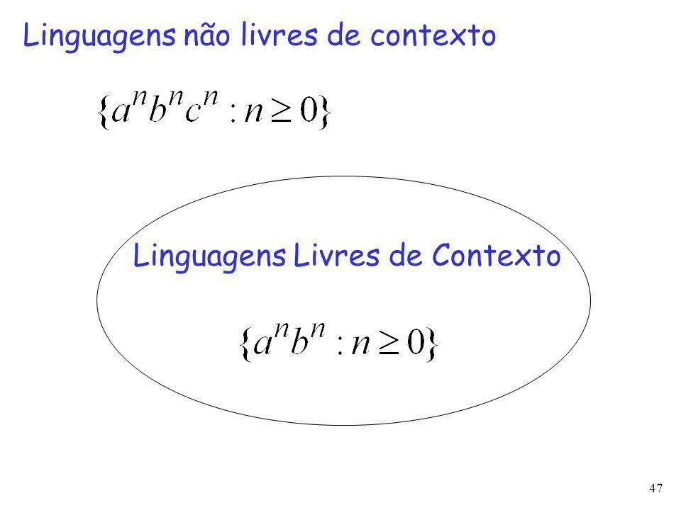 47 Linguagens Livres de Contexto Linguagens não livres de contexto