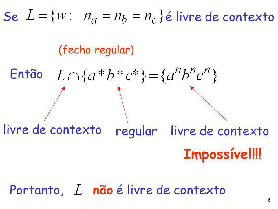 8 livre de contexto regularlivre de contexto Se é livre de contexto Então Impossível!!.