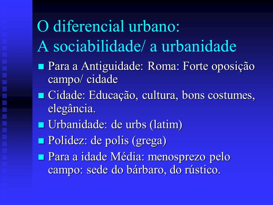 O diferencial urbano: A sociabilidade/ a urbanidade Para a Antiguidade: Roma: Forte oposição campo/ cidade Para a Antiguidade: Roma: Forte oposição ca