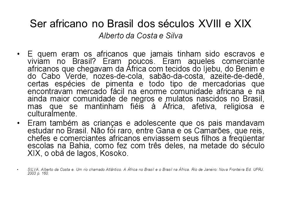 Ser africano no Brasil dos séculos XVIII e XIX Alberto da Costa e Silva E quem eram os africanos que jamais tinham sido escravos e viviam no Brasil.