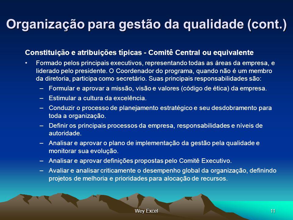 Wey Excel11 Organização para gestão da qualidade (cont.) Constituição e atribuições típicas - Comitê Central ou equivalente Formado pelos principais e