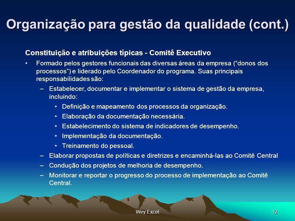 Wey Excel12 Organização para gestão da qualidade (cont.) Constituição e atribuições típicas - Comitê Executivo Formado pelos gestores funcionais das d