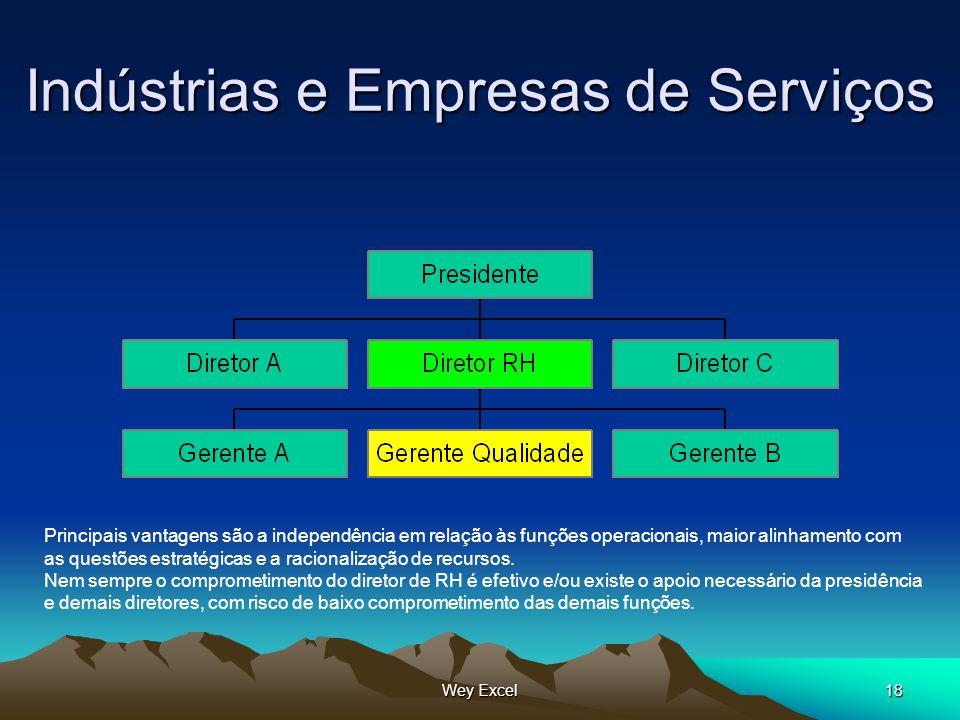 Wey Excel18 Indústrias e Empresas de Serviços Principais vantagens são a independência em relação às funções operacionais, maior alinhamento com as qu