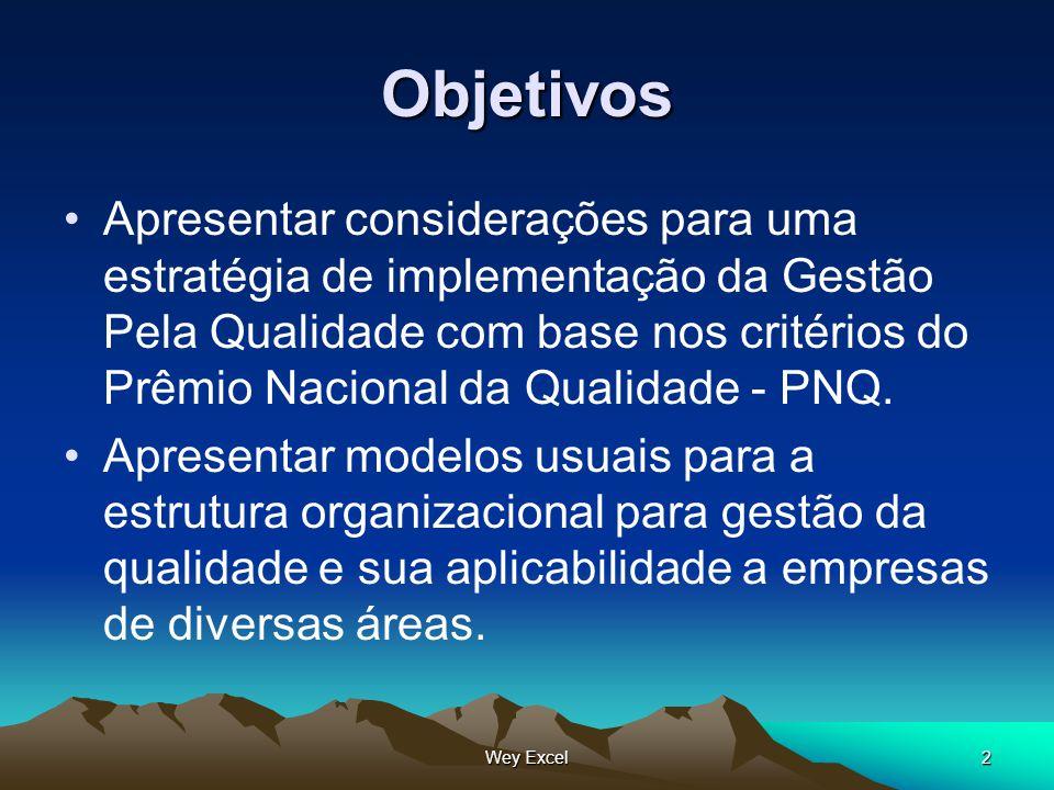 Wey Excel2 Objetivos Apresentar considerações para uma estratégia de implementação da Gestão Pela Qualidade com base nos critérios do Prêmio Nacional
