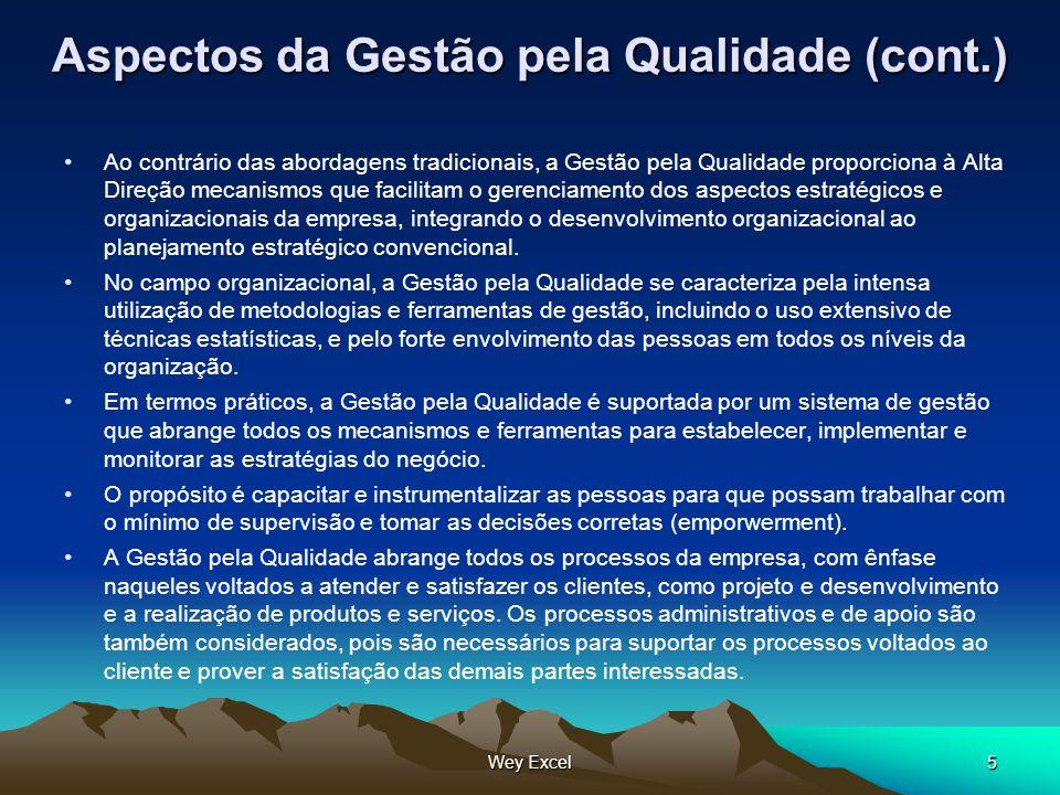 Wey Excel5 Aspectos da Gestão pela Qualidade (cont.) Ao contrário das abordagens tradicionais, a Gestão pela Qualidade proporciona à Alta Direção meca
