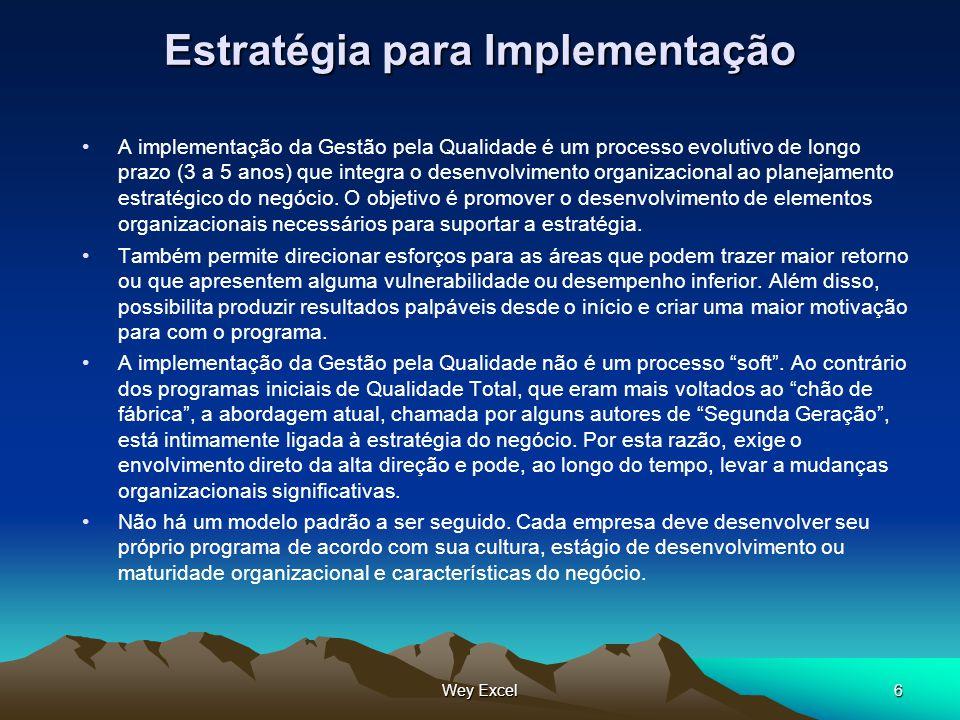 Wey Excel6 Estratégia para Implementação A implementação da Gestão pela Qualidade é um processo evolutivo de longo prazo (3 a 5 anos) que integra o de
