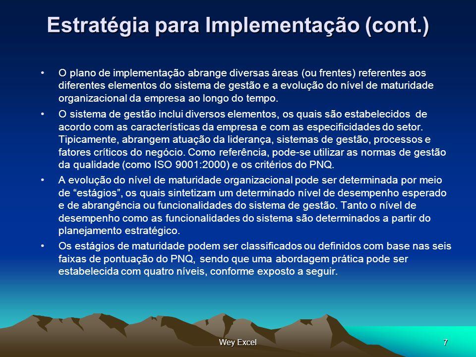 Wey Excel7 Estratégia para Implementação (cont.) O plano de implementação abrange diversas áreas (ou frentes) referentes aos diferentes elementos do s