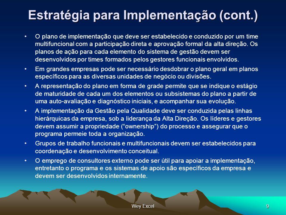Wey Excel9 Estratégia para Implementação (cont.) O plano de implementação que deve ser estabelecido e conduzido por um time multifuncional com a parti