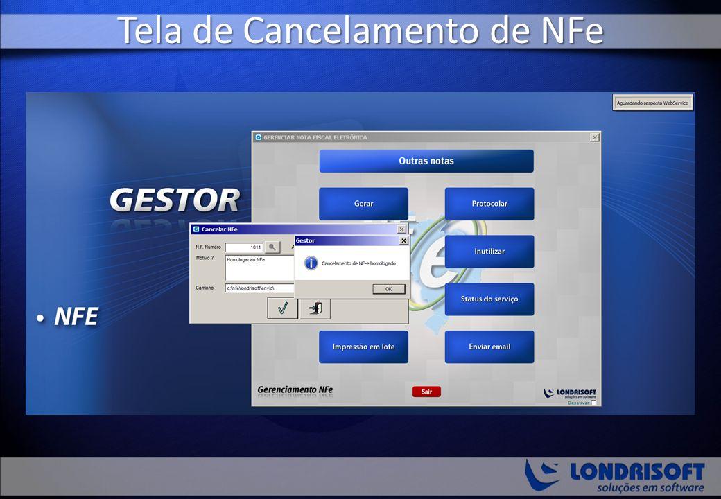 Tela de Cancelamento de NFe