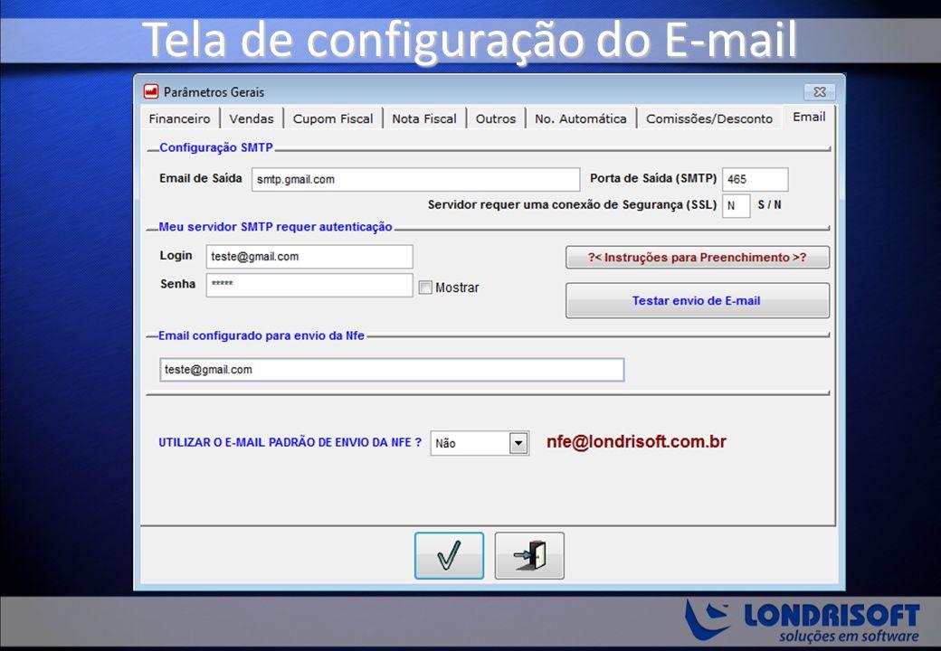 Tela de configuração do E-mail