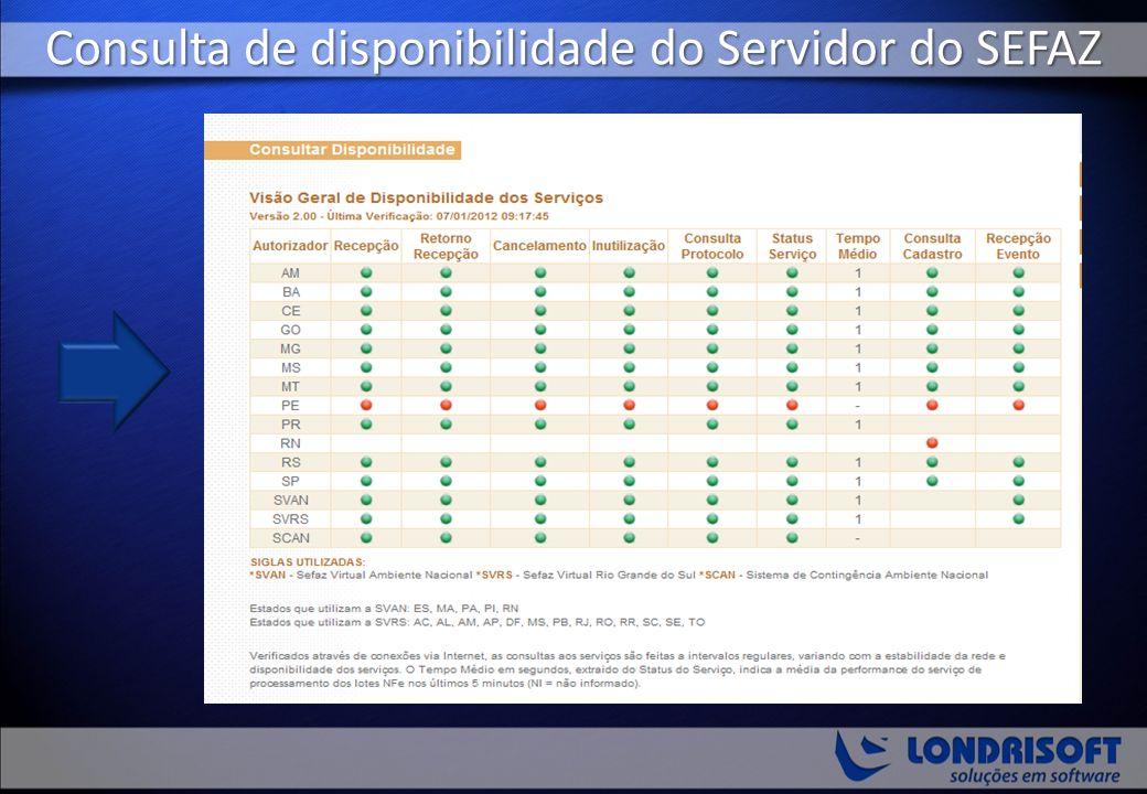 Consulta de disponibilidade do Servidor do SEFAZ
