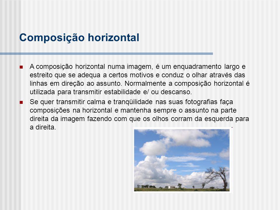 A composição horizontal numa imagem, é um enquadramento largo e estreito que se adequa a certos motivos e conduz o olhar através das linhas em direção ao assunto.