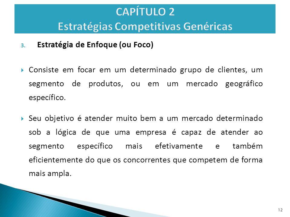 3. Estratégia de Enfoque (ou Foco)  Consiste em focar em um determinado grupo de clientes, um segmento de produtos, ou em um mercado geográfico espec
