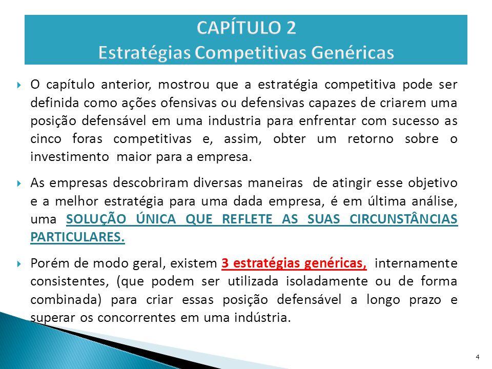  O capítulo anterior, mostrou que a estratégia competitiva pode ser definida como ações ofensivas ou defensivas capazes de criarem uma posição defens