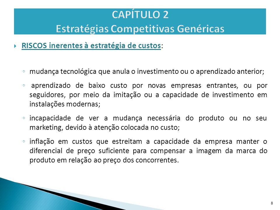  RISCOS inerentes à estratégia de custos: ◦ mudança tecnológica que anula o investimento ou o aprendizado anterior; ◦ aprendizado de baixo custo por