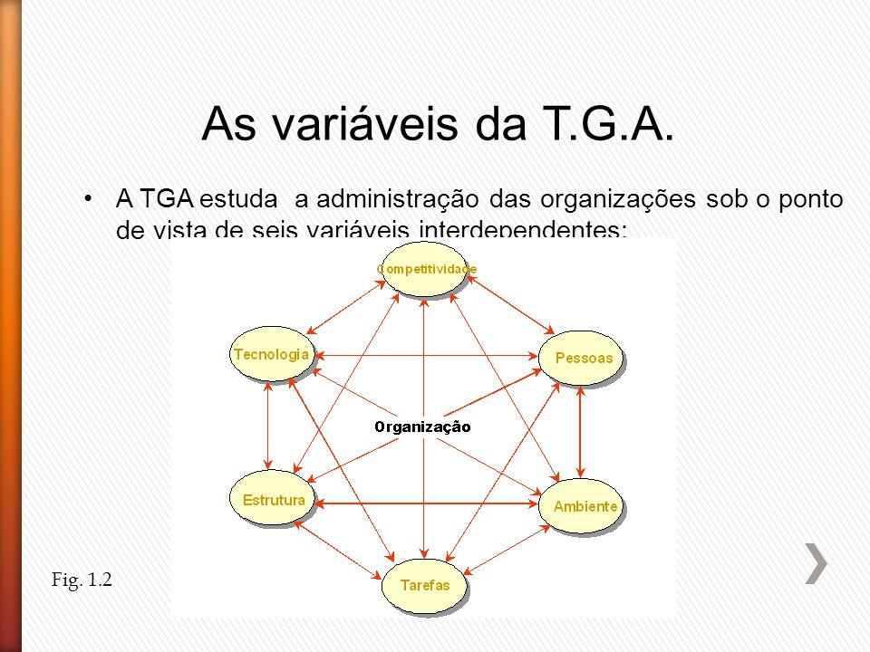 As variáveis da T.G.A. A TGA estuda a administração das organizações sob o ponto de vista de seis variáveis interdependentes: Fig. 1.2