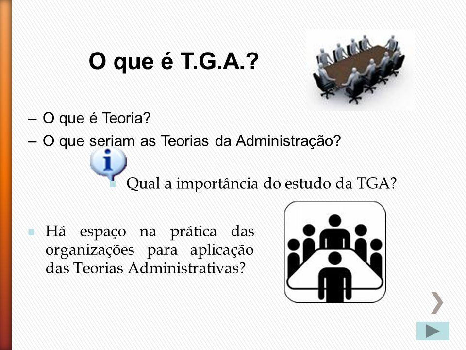 –O que é Teoria? –O que seriam as Teorias da Administração? Há espaço na prática das organizações para aplicação das Teorias Administrativas? Qual a i