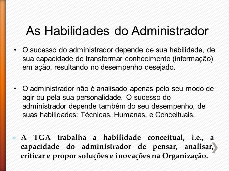 As Habilidades do Administrador O sucesso do administrador depende de sua habilidade, de sua capacidade de transformar conhecimento (informação) em aç
